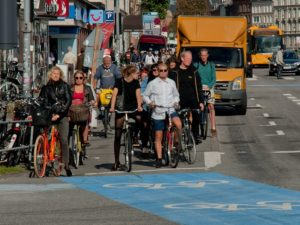 Copenhagen, Denmark, is welcoming for both pedestrians and bikers because of the people-centered urban design principles that Jan Gehl spearheaded. Photo by Justin Swan/Flickr.