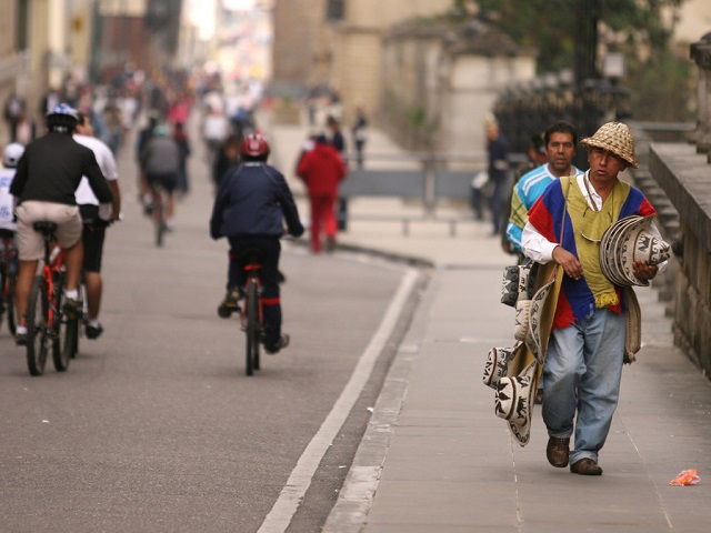 The people in Bogota's informal sector and the city government have clashing visions of how informal commerce should play out on public transport and in public spaces. Photo by Nathan Gibbs/Flickr.