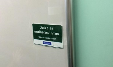 Stickers posted to metro cars in protest of new law. Photo via TheCityFixBrasil.