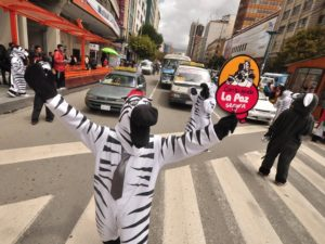 This zebra directing traffic is not a joke. It is one of hundreds of city employees saving lives while making streets in La Paz, Bolivia friendlier for pedestrians. Photo via oneillinstituteblog.org.