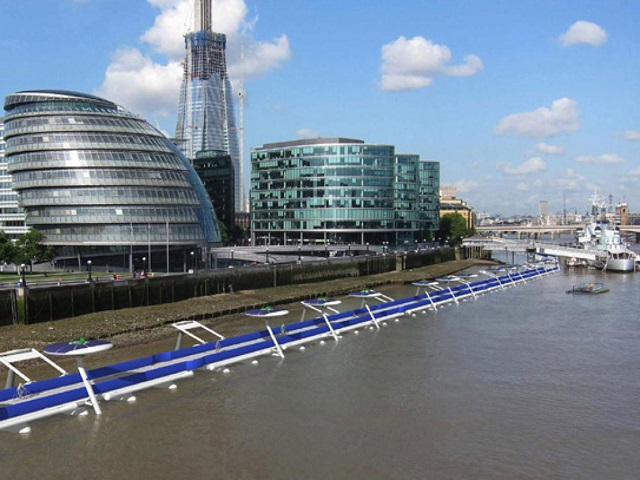 The proposed Thames Deckway would connect two business districts in London. Rendering via River Cycleway Consortium.