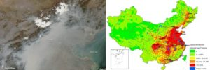 Left: A thick layer of haze blanketed the North China Plain on October 9, 2014. On that day, PM2.5 levels were 13 times higher than the level the WHO considers safe for 24-hour exposure. The graphic on the right shows PM2.5 exposure intensity, calculated using days of heavy pollution and population density. Graphics via NASA and Beijing City Lab.