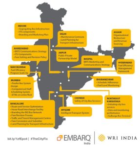EMBARQ India is improving bus systems in cities across the country. Graphic by EMBARQ India.