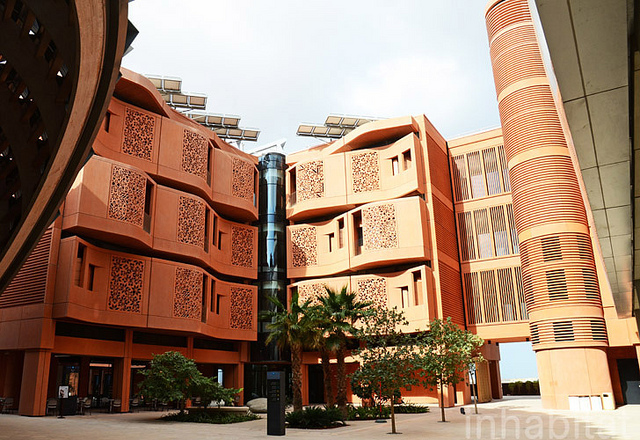 "Masdar City broke ground in 2008, and aims to provide a ""greenprint"" for how cities can reduce resource usage and accommodate growth. Photo by Inhabitat blog/Flickr."