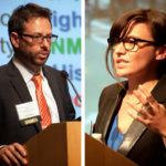 Erik Vergel-Tovar (left) of Colombia and Madeline Brozen (right) of the United States—recipients of the 2014 Lee Schipper Memorial Scholarship—presented their research findings at Transforming Transportation 2015. Photos by Zhou Jia/WRI.