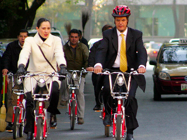 Former Mexico City mayor Marcelo Ebrard rides his bike