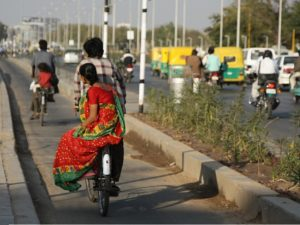 Many cities in India, including Ahmedabad, have high rates of active transport. Including walking and bicycling in the UN Sustainable Development Goals (SDGs) recognizes the role of active transport in creating sustainable, healthy cities. Photo by Meena Kadri/Flickr.