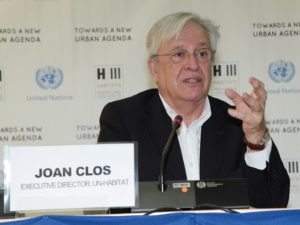 UN-Habitat Executive Director  Dr. Joan Clos addresses a joint press conference during PrepCom2--a meeting in Nairobi, Kenya for international leaders to prepare for next year's Habitat III. Photo by UN-Habitat/Flickr.
