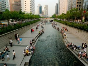 The Cheonggye River in Seoul, South Korea is a great example of how cities can use public spaces to revitalize the local economy and improve quality of life for residents. Photo by Kimmo Räisänen/Flickr.