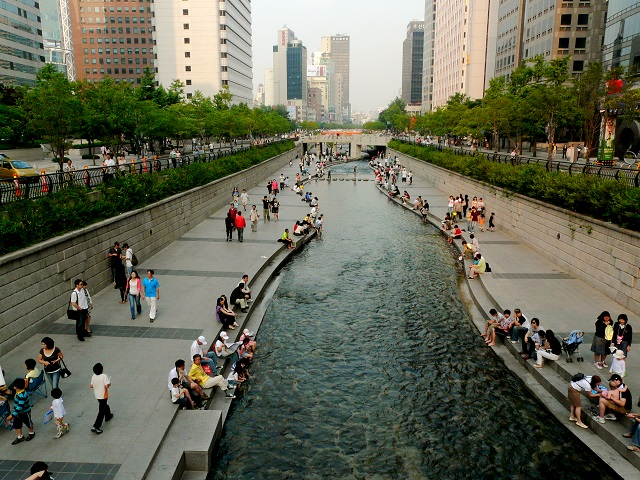 The Cheonggye Stream in Seoul