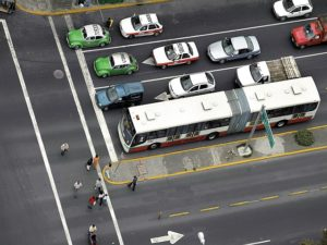 An aerial view of the metro-bus system in Mexico City. The city's recent bus-rapid transport system has helped alleviate major congestion. (Photo: EMBARQ Sustainable Urban Mobility / Flickr)