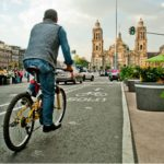 Biking down the street in Mexico City