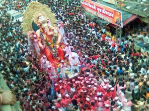 The Ganesh Chaturthi street festival in Mumbai is significant for the local community both economically and culturally. Photo by ninadism/flickr.
