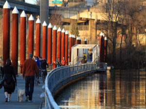 Portland's pedestrian-friendly East Bank