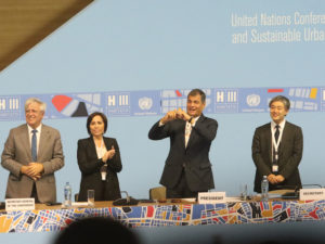 Joan Clos and President Rafael Correa Celebrate the Unanimous Adoption of the New Urban Agenda at the Habitat III Closing Ceremony. Photo by Agencia de Noticias ANDES / Flickr.