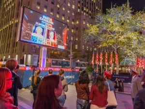 Residents of New York Gathered in Rockefeller Plaza on Election Night to Watch the Live Results. Photo by Marco Verch / Flickr