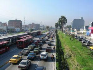 Traffic Lines the Highway in Bogotá, Colombia. This Roadway Shares Space with Bus Rapid Transit System, TransMilenio. Photo by EMBARQ / Flickr
