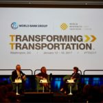 Andrew Steer, CEO and President of World Resources Institute, and Laura Tuck, Vice President for Sustainable Development at the World Bank, opened Day 1 of Transforming Transportation 2017 with moderator Melinda Crane. Photo by Luca Lo Re / WRI.