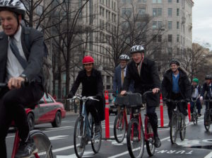 WRI's Andrew Steer and Claudia Adriazola on the Pennsylvania Avenue biketrack. Photo by WRI/Flickr