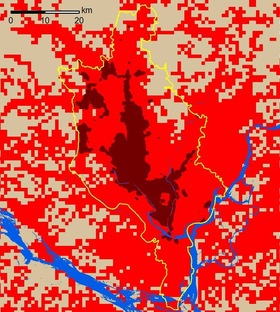 A comparison of urban clusters within Dhaka, Bangladesh. The Atlas of Urban Expansion - 2016 Edition is marked in dark red and the Atlas of the Human Planet - 2016 is red and dark red. The area of the latter is four times the area of the former. Image: NYU Marron Institute
